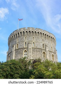 WINDSOR, ENGLAND - SEPTEMBER 14, 2014: Outside view of Medieval Windsor Castle. Windsor Castle is a royal residence at Windsor in the English county of Berkshire.
