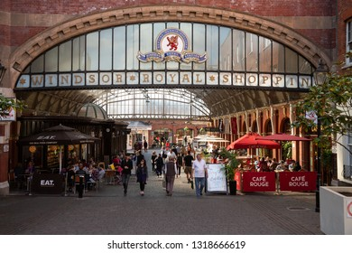 Windsor, England / United Kingdom - September 29 2014:  Entrance to the Windsor Royal Shopping Center and Train Station
