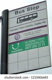 Windsor, Great Britain - September 2018: Windsor Town Centre Bus Stop Sign Board