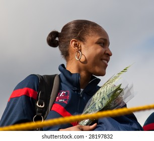 WINDSOR LOCKS, CT - APRIL 8: Maya Moore, forward for the UCONN Women's Basketball Champs on stage at a homecoming rally held at Bradley Airport on April 8, 2009 in CT.