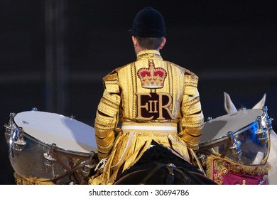WINDSOR - MAY 16: The Drum horse from the Household Cavalry prepares to take the royal salute at The Royal Windsor Tattoo on May 16, 2009 in Windsor, UK.