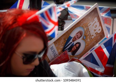 WINDSOR, May 2018 - Crowds gather in Windsor, Berkshire, England, UK to watch the Royal Wedding of Prince Harry and Meghan Markle