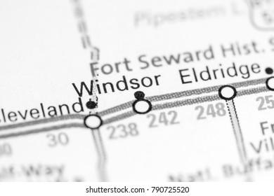 Windsor. North Dakota. USA on a map.