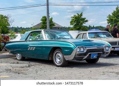 Windsor,, Nova Scotia, Canada - August 4, 2019 : 1963 Ford Thunderbird at Avon River Days Show & Shine, Windsor waterfront.