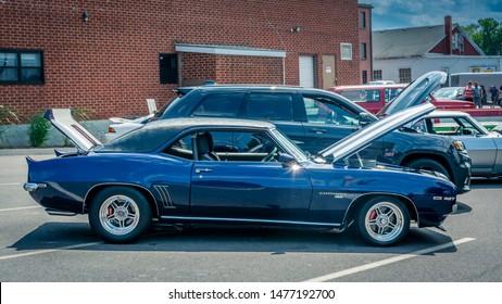 Windsor, Nova Scotia, Canada - August 4, 2019 : 1969 Chevy Camaro SS at Avon River Days Show & Shine, Windsor waterfront.