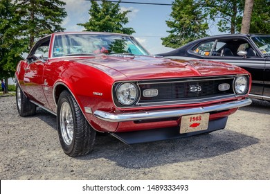 Windsor, Nova Scotia, Canada - August 4, 2019 : 1968 Chevy Camaro SS 350 at Avon River Days Show & Shine, Windsor waterfront.