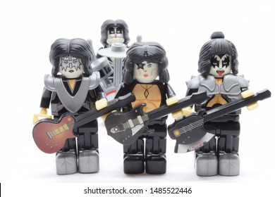 Windsor, ON - August 2019: Kiss band members in lego figurines with instruments. Paul Stanley, Gene Simmons, Peter Criss, and Ace Frehley as lego minifigures. Classic rock band toy.