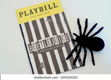 Windsor, ON - December 2019: Beetlejuice on Broadway Playbill with a spider. Spooky musical based on original movie by Tim Burton. Playing at the Winter Garden Theatre and closing soon.