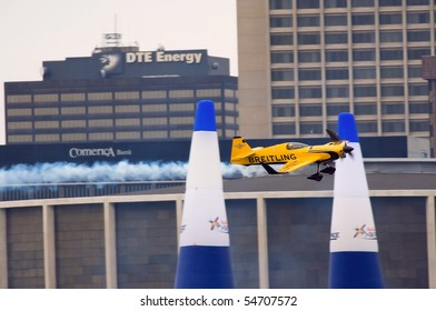WINDSOR, ONT - JUNE 5 - Nigel Lamb passes through the pylons in the Brietling airplane at the Red Bull Air Races June 5, 2010 on the Detroit River in Windsor, Ontario