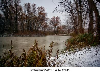 Windsor, Ontario Canada Fall Autumn Malden Park Pond Winter Scene