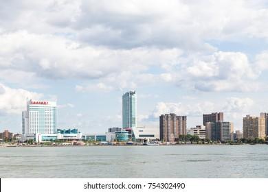 Windsor, Ontario Canada June 28 2015: Windsor city skyline from across the Detroit River