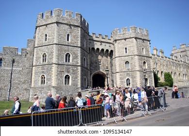 windsor, Uk, 5/19/2018 : crowd scenes after wedding of Meghan Markle and Prince Harry at Windsor castle