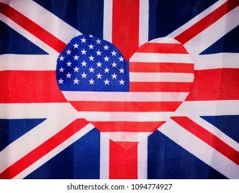 Windsor, UK, 5/19/2018: Prince Harry & Megan Markle flag I designed from existing USA and British Union jack flags love heart concept