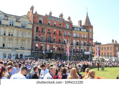 Windsor, Uk, 5/19/2018 :wedding of Meghan Markle and Prince Harry, crowd scenes in street outside Windsor castle