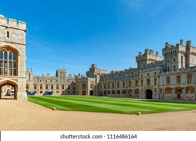 Windsor, UK - April 2018: Buildings including Private Apartment, State Apartment, and South Wing at The Quadrangle of Windsor Castle, a royal residence at Windsor in county of Berkshire, England, UK