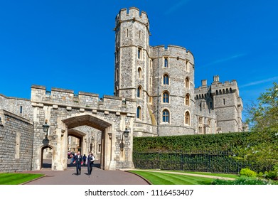Windsor, UK - April 2018: Edward III Tower at the main entrance to Windsor Castle, a royal residence palace and major tourist attraction at Windsor in county of Berkshire, England, UK