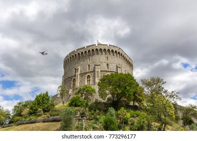 WINDSOR, UK - DEC 12, 2017: Round tower of Windsor Castle. It is a royal residence at Windsor in the English county of Berkshire. The castle is notable for its architecture.