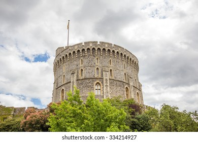 WINDSOR, UK - JULY 18, 2015: Round tower of Windsor Castle. It is a royal residence at Windsor in the English county of Berkshire. The castle is notable for its architecture.