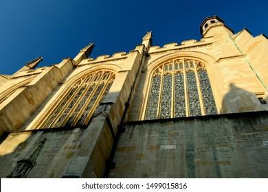 Windsor, UK, July 2019. Eton College Chapel; low-angle view.