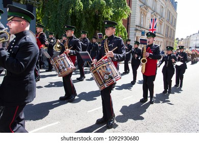 WINDSOR, UK - MAY 17th 2018: A full dress rehearsal with the armed forces for the Royal wedding of Prince Harry and Meghan Markle which takes place in Windsor
