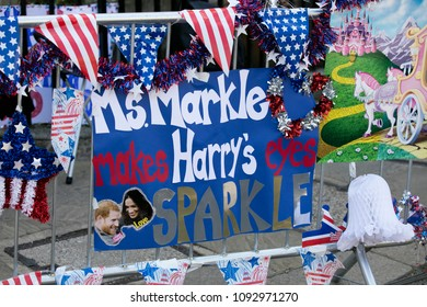 WINDSOR, UK - MAY 17th 2018: People display banners and signs along the route of the Royal Wedding in Windsor