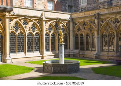Windsor, UK - May 5, 2018:  View at the medieval Windsor St. George's chapel the host of prince William and Meghan Markle wedding ceremony. England UK
