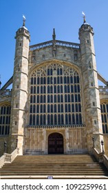 Windsor, UK - May 5, 2018:  St. George's chapel the host of prince Harry and Meghan Markle wedding ceremony.