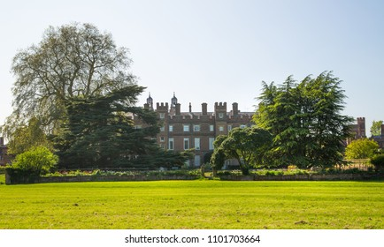 Windsor, UK - May 5, 2018:   Eton College Eton College. Fields, main building , Chapel in the city of Windsor, England.