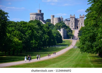 Windsor / United Kingdom — June 22, 2018: view of the Long Walk in Windsor with Windsor castle, a royal residence and a place associated with many notable events in the history of British Royal Family