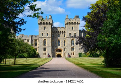 Windsor / United Kingdom — June 22, 2018: Windsor Castle, a royal residence and a place associated with many notable events in the history of British Royal Family, seen from the Long Walk