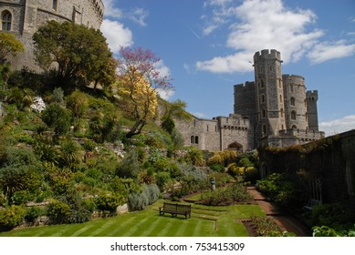 Windsor, United Kingdom - May 16, 2015: Garden around Round Tower and Henry III Tower of Windsor Castle, United Kingdom