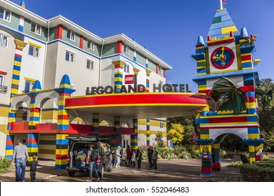 WINDSOR, UNITED KINGDOM â?? OCTOBER 11: The Legoland Hotel entrance on October 11, 2014 at Legoland Windsor.