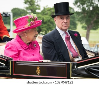 Windsor/England: June 22, 2017: Her Majesty Queen Elizabeth and son Prince Andrew, Duke of York, head to Royal Ascot in a landau carriage