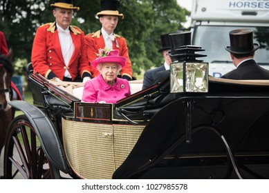 Windsor/England: June 22, 2017: Her Majesty Queen Elizabeth heads to Royal Ascot in a landau carriage as part of the daily procession for the popular horse-racing event.