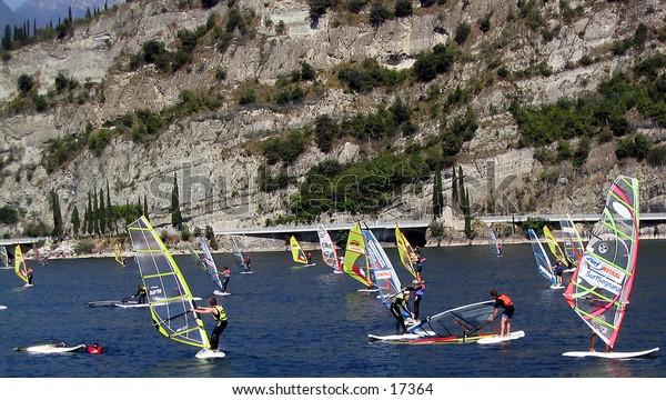 Windsurf school on Lake Garda in Italy