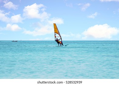 Windsurfer at Aruba island on the Caribbean Sea