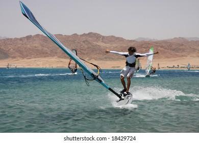 Windsurfer before falling. Dahab, Egypt, Red Sea.
