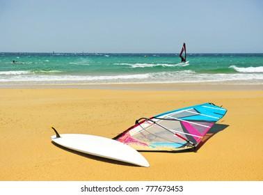 Windsurfer on the beach of Los Lances, one of the beaches of Tarifa, Costa de la Luz, Cádiz, Spain