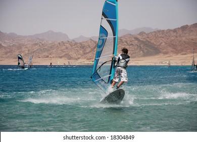 Windsurfers in Dahab. Red Sea, Egypt.