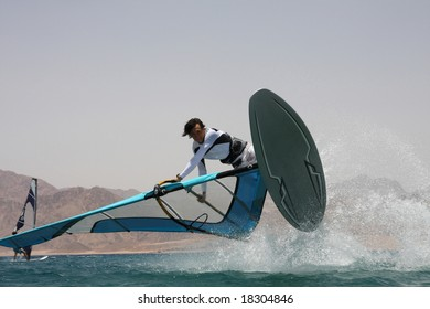 Windsurfer's jump. Red Sea, Egypt, Dahab.