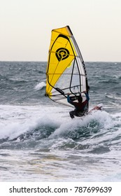 windsurfers off the Cote Bleue, in Provence, January 4, 2018
