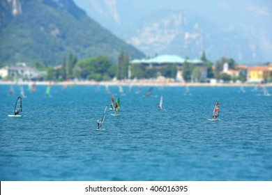 Windsurfers on the lake