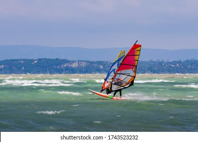 Windsurfers on Lake Balaton, Hungary