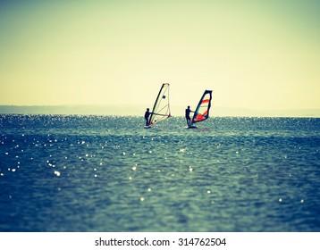 Windsurfers swimming in sea. Summertime photo with windsurfers swimming on water surface