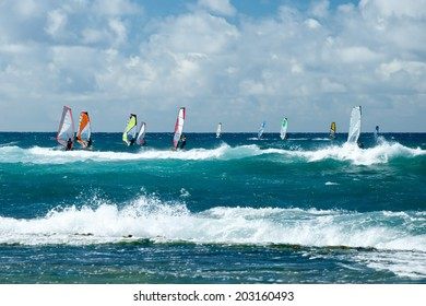 Windsurfers in windy weather on Maui Island