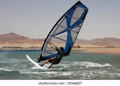 Windsurfing in Dahab. Egypt, Red Sea.