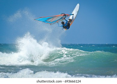 Windsurfing jumps out of the water