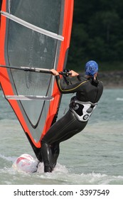 windsurfing at the lago di st. croce, italy