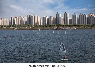 windsurfing on a Hangang River