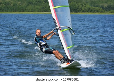 Windsurfing on the lake Nies?ysz, Poland